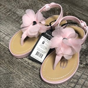 Bebe girls sandals pink flower shoes Nwt